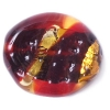 Glass Lamp Bead 21/19mm Flat Oval Siam Ruby/Gold Silver Lined